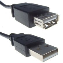 USB 2.0 Black Type A Extension Cable Male To Female 1m